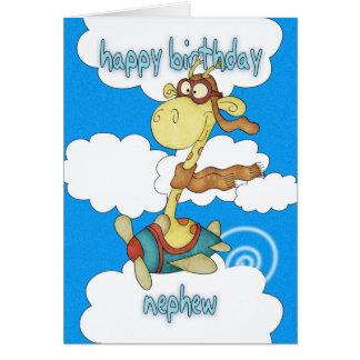 Nephew Aeroplane / Airplane Giraffe Birthday Card