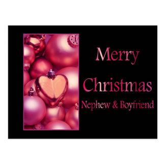 nephew and boyfriend Merry Christmas card Postcard