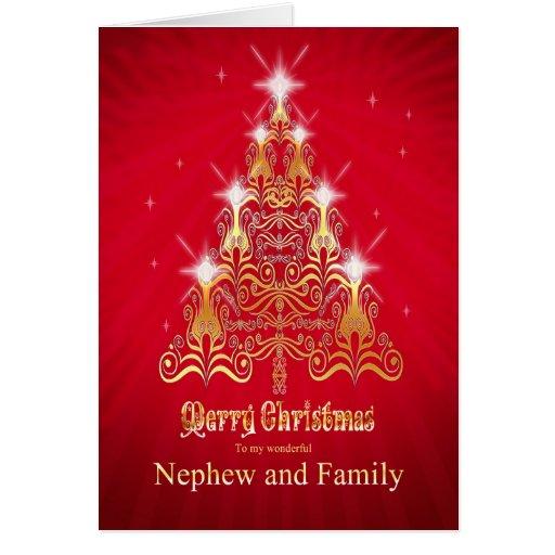 Nephew and family, Christmas tree Christmas card   Zazzle