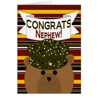 Nephew - Army Soldier Congrats Greeting Cards