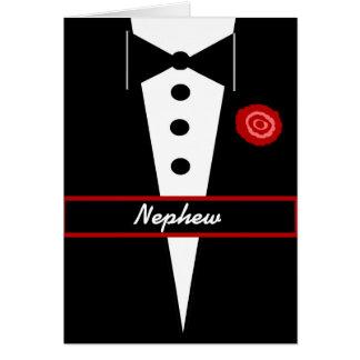 NEPHEW Be My Junior Groomsman Card with Tux