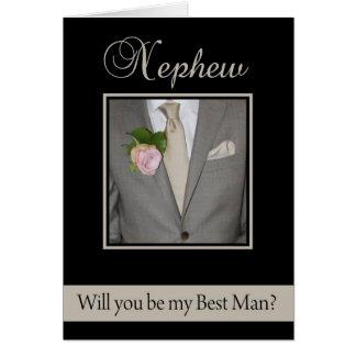 Nephew Best Man request Grey Suit Greeting Card