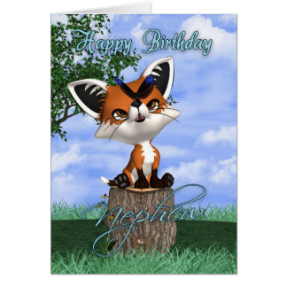 Nephew Birthday Card With Cute Fox And Butterfly
