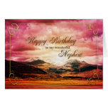 Nephew birthday, Sunset over the mountains Card