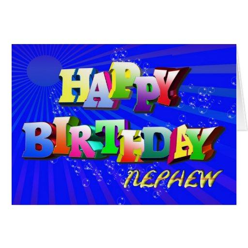 Birthday Cards Nephew ~ Nephew bright letters and bubbles birthday card zazzle