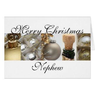 Nephew Christmas black & White & Gold collage Card