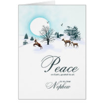 Nephew, Christmas scene with reindeer Card