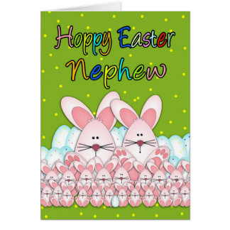 Nephew Easter Card With Easter Bunnies And Eggs