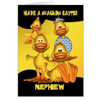 Nephew, Easter Card With Fun Ducks, Quacking