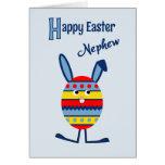 Nephew Easter egg bunny blue Card