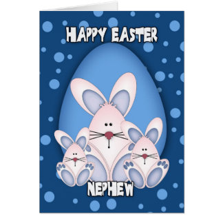 Nephew Easter Greeting Card With Cute Rabbits