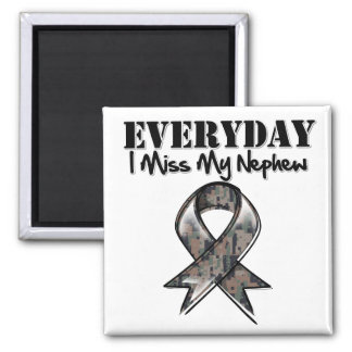 Nephew - Everyday I Miss My Hero Military 2 Inch Square Magnet