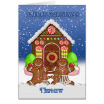 Nephew Gingerbread House and Family Christmas Gree Greeting Card