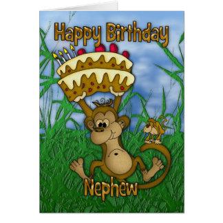 Nephew Happy Birthday with monkey holding cake Card