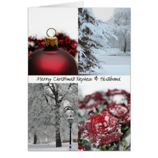 Nephew & Husband Christmas Red Winter collage Greeting Card