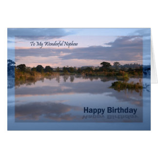 Nephew, Lake at dawn Birthday card