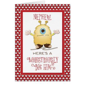 Nephew Monster Hug Valentine Hearts Card