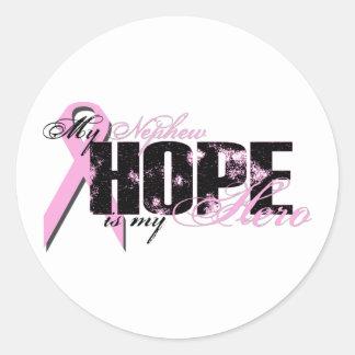 Nephew My Hero - Breast Cancer Hope Classic Round Sticker