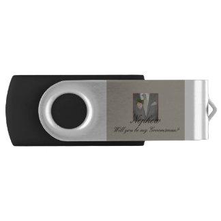 nephew Please be my Groomsman - invitation USB Flash Drive