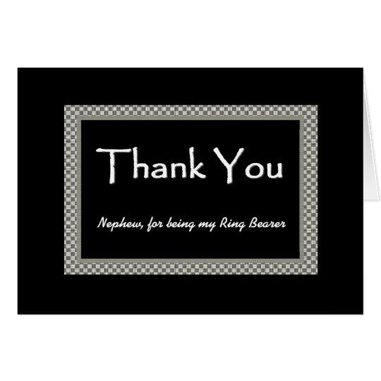 NEPHEW Ring Bearer Checkerboard Wedding THANK YOU Card