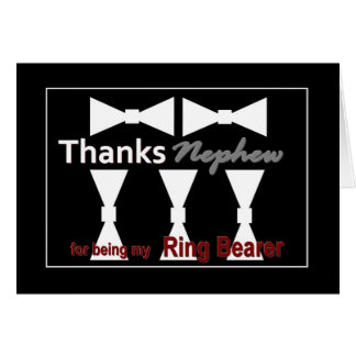 NEPHEW Ring Bearer with Bow Ties Wedding THANK YOU Greeting Card