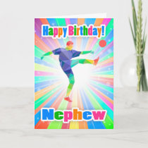 Nephew, Soccer Player Birthday Colorful Abstract Card