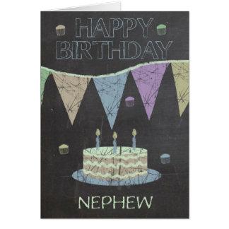 Nephew Trendy Chalk Board Effect, With Cake Card