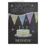 Nephew Trendy Chalk Board Effect, With Cake Greeting Card