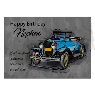 Nephew, Vintage Blue Car On Watercolor Background Card