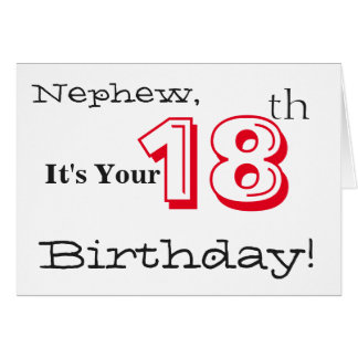 Nephew's 18th birthday greeting in red and black. card