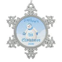 Nephew's 1st Christmas Keepsake Snowflake Pewter Christmas Ornament