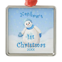 Nephew's 1st Christmas Snowman Ornament