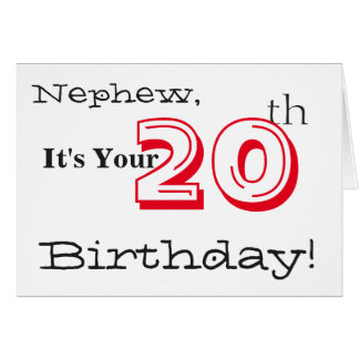 Nephew's 20th birthday greeting in red and black. card