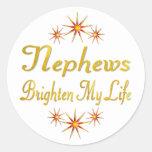 Nephews Brighten My Life Round Sticker