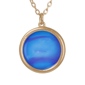 Neptune Astronomy Space Blue Gold Plated Necklace