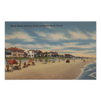 Neptune Beach, FL - View of Ocean Front Homes Posters