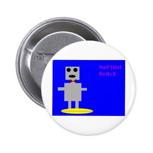 Neptune Beach Robot 2 2 Inch Round Button