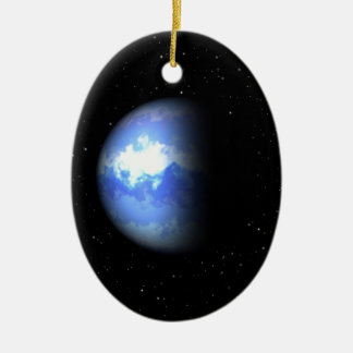 Neptune Double-Sided Oval Ceramic Christmas Ornament