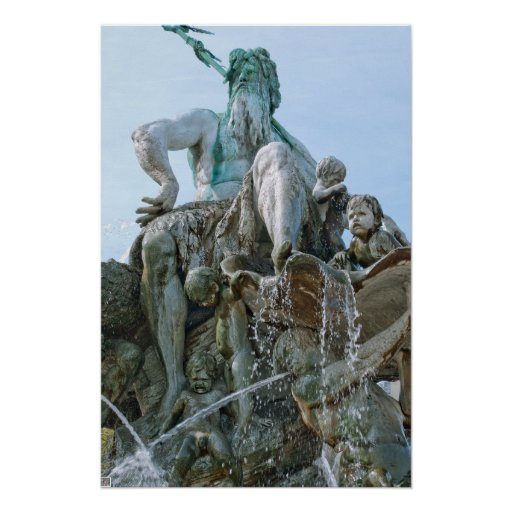 Neptune Fountain in Berlin Poster