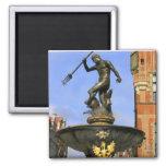 Neptune Fountain in Gdansk 2 Inch Square Magnet