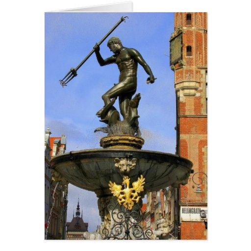 Neptune Fountain in Gdansk Card