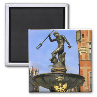Neptune Fountain in Gdansk 2 Inch Square Magnet