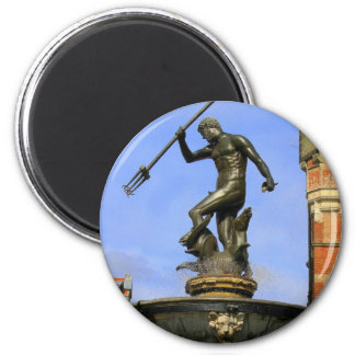 Neptune Fountain in Gdansk 2 Inch Round Magnet
