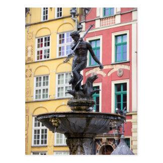 Neptune Fountain in Gdansk Postcard