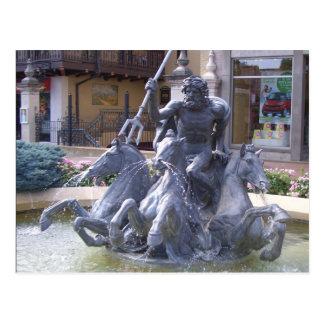 Neptune Fountain in Kansas City Postcard