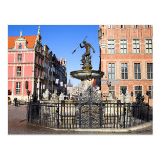 Neptune Fountain in the City of Gdansk Postcard