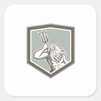 Neptune Holding Trident Shield Retro Stickers