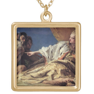 Neptune offering gifts to Venice (ceiling fresco) Square Pendant Necklace