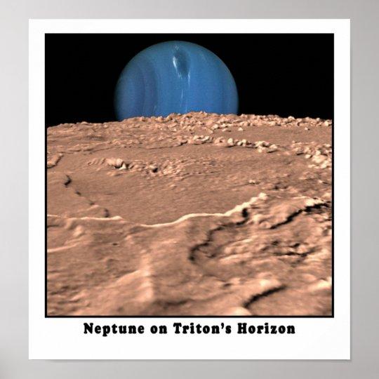 Neptune on Triton's Horizon Poster