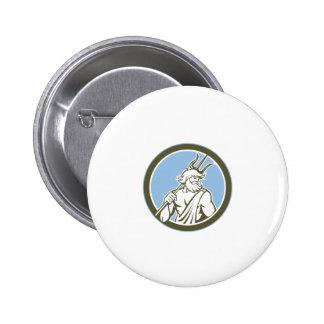 Neptune Poseidon Trident Circle Retro Badge